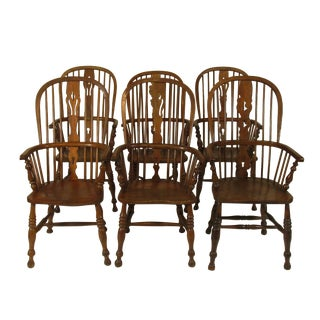 18th Century English Windsor Arm Chairs- Set of 6 For Sale