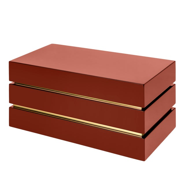 Not Yet Made - Made To Order Flair Home Collection Banded Rectangular Box in Cinnabar / Brass For Sale - Image 5 of 5