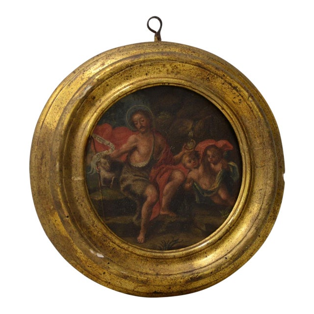 Italian School 17th C. Circular Painting of John the Baptist Embracing the Angus Dei W/ Two Angels For Sale