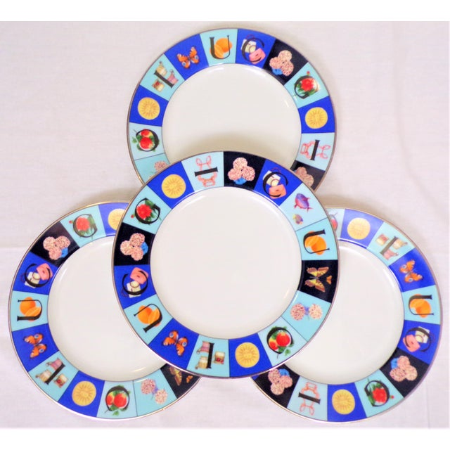 1990s 1990's Gucci Guccissimo China Salad Plate Set - Set of Four For Sale - Image 5 of 5