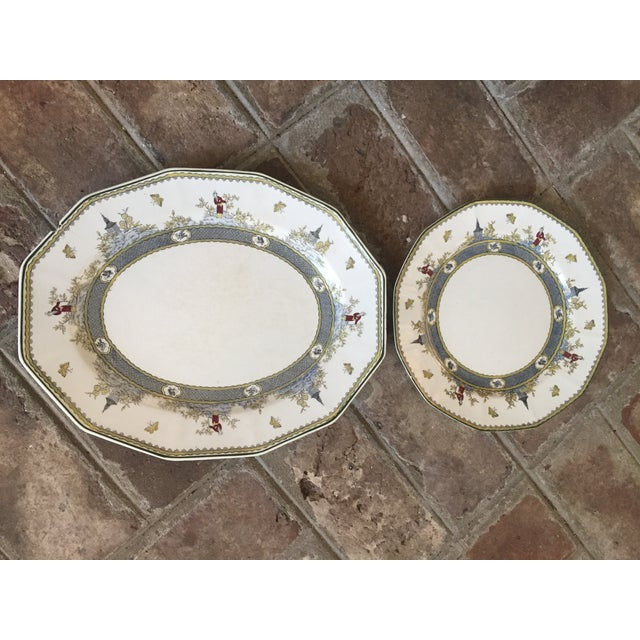 """Royal Doulton Chinoiserie """"Mandarin"""" Pattern Platter and Dinner Plate Set - 2 Pc. For Sale - Image 11 of 13"""