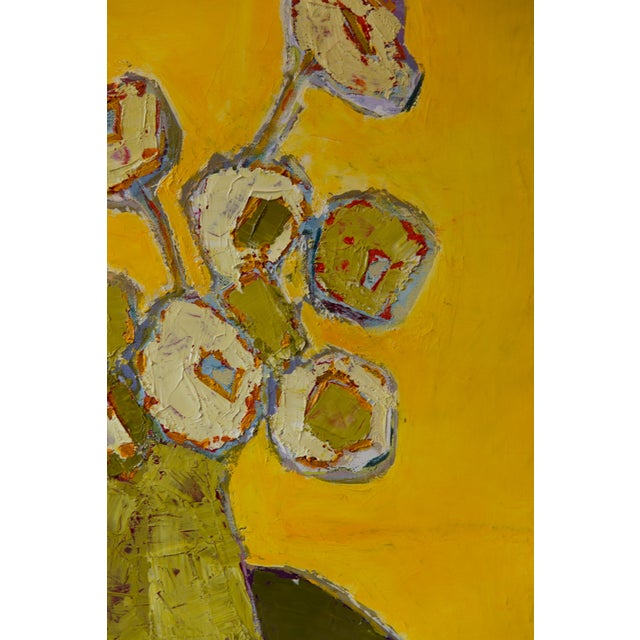 """2020s Bill Tansey """"Yellow"""" Abstract Floral Oil Painting on Canvas For Sale - Image 5 of 5"""