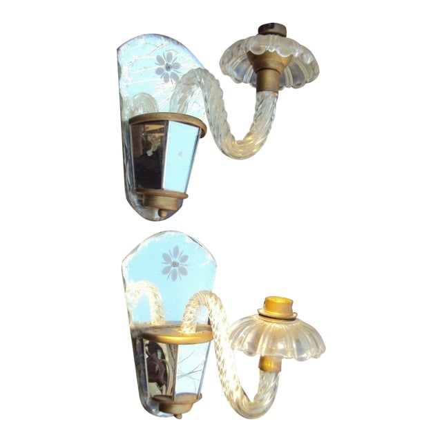 C. 1940's Venetian Murano Hollywood Regency Crystal Mirrored Wall Sconces - a Pair For Sale