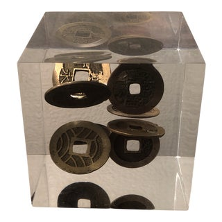 Asian Coins in Lucite Paperweight For Sale