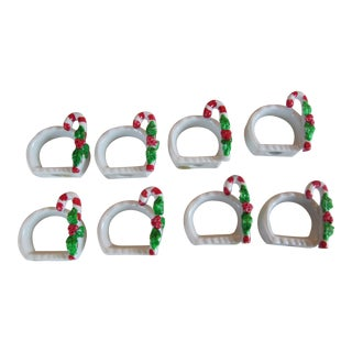 Porcelain Candy Cane Napkin Rings - Set of 8 For Sale