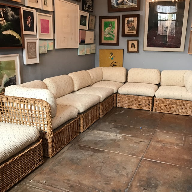 Vintage Rattan Sectional Sofa Set For Sale - Image 5 of 11