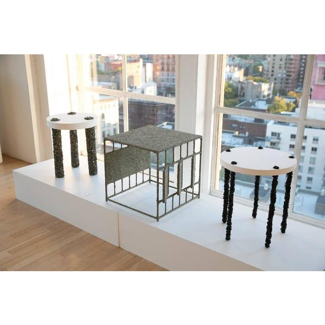 Hand Made Three-Leg Side Table of Pyrite and White Plaster, by Samuel Amoia For Sale - Image 4 of 5