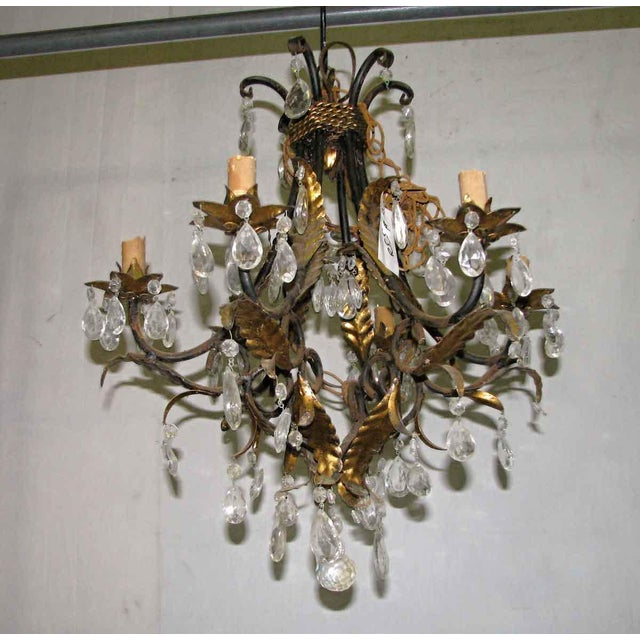 Traditional Wrought Iron Brass & Crystal Chandelier For Sale - Image 3 of 8
