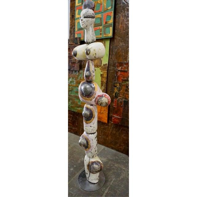 Figural Ceramic Totem Sculpture Signed F. Fau For Sale - Image 4 of 10