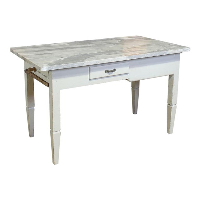Vintage Italian Marble Top Kitchen Table For Sale - Image 10 of 10