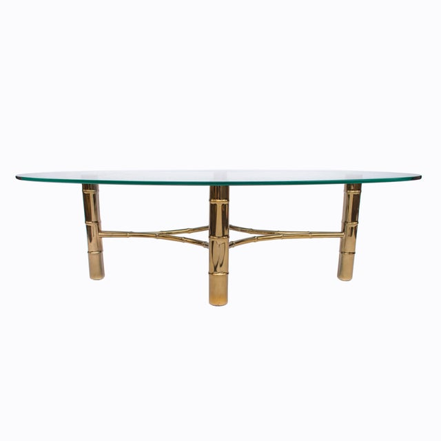 Hollywood Regency Hollywood Regency Brass Faux Bamboo Oval Coffee Table For Sale - Image 3 of 8