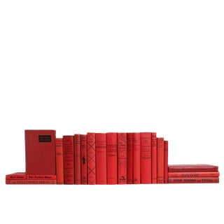 Midcentury Scarlet & Black Book Set, S/20 For Sale