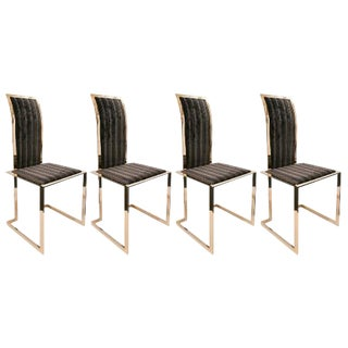 A Set of 4 20th Century Brass Side Chairs, Ca. 1970's For Sale