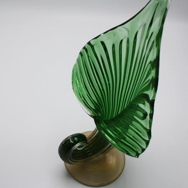 """Archimede Seguso jack-in-the-pulpit vase with 24k gold inclusions, c. 1950 7""""w X 5""""d X 12 1/2"""" h"""