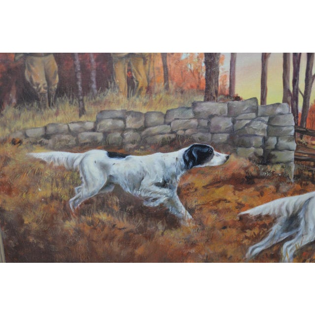"""Canvas John Lawrence Murray """"The Hunt"""" Original Oil Painting C.1941 For Sale - Image 7 of 9"""