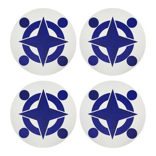 """Constallations Compass, 16"""" Round Pebble Placemats, Set of 4 For Sale"""