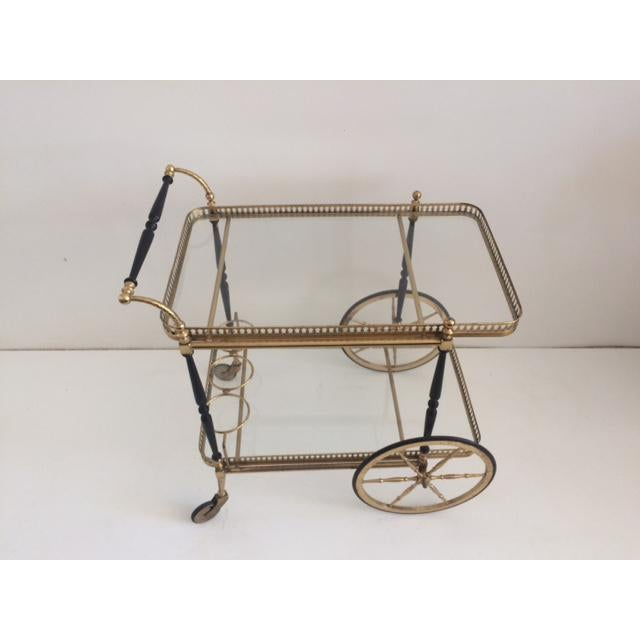 Chic French Brass and Glass Bar Cart from the 1940's on Wheels