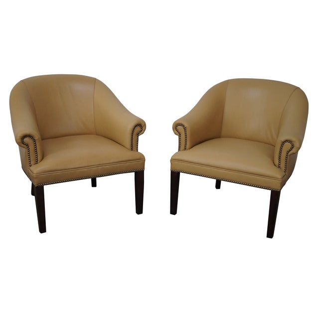 Quality Leather Barrel Back Arm Chairs - Pair - Image 1 of 10