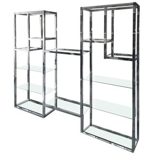 Milo Baughman Extra Large Chrome Etagere For Sale