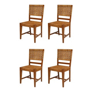 Set of Four French Caned Chairs from 1940s-1950s For Sale