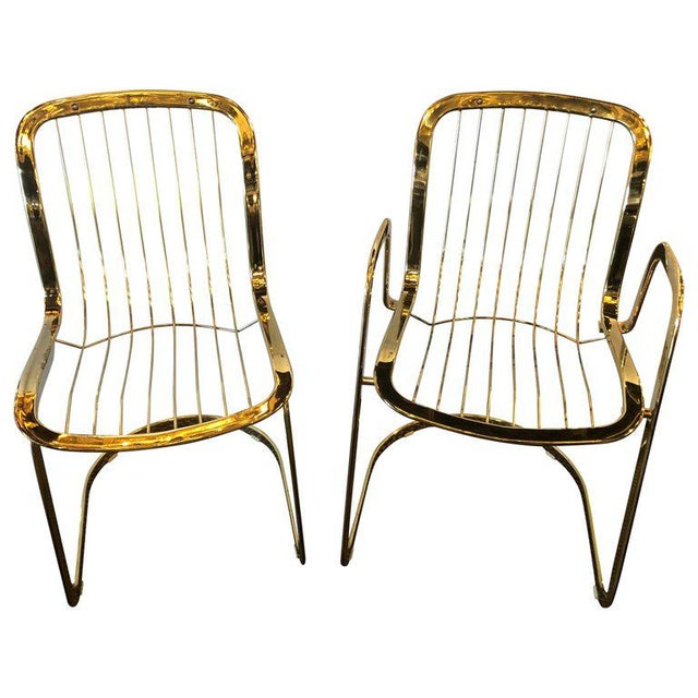 Willy Rizzo for Cidue 8 Dining Chairs Italian 1970s Brass Plated Metal Labelled For Sale - Image 13 of 13