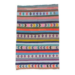 Vintage Turkish Kilim Colorful Striped Rug - 4′6″ × 6′11″ For Sale