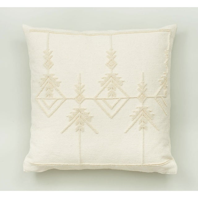 "Early 21st Century Schumacher Artiganale Italian Hand Woven Wool White 23"" Floor Pillow For Sale - Image 5 of 5"