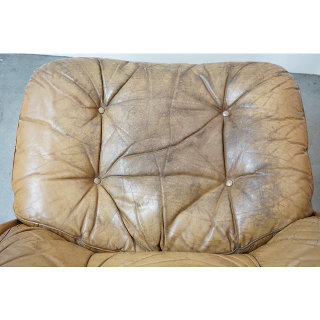 Pair of Leather Chairs and Single Ottoman, Sold as a Set For Sale - Image 9 of 10