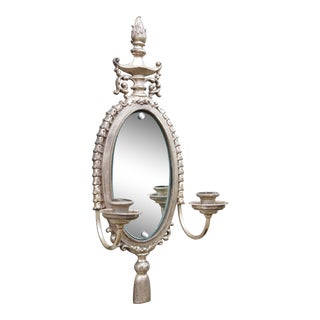 Silver Plated French Sconce Mirror For Sale