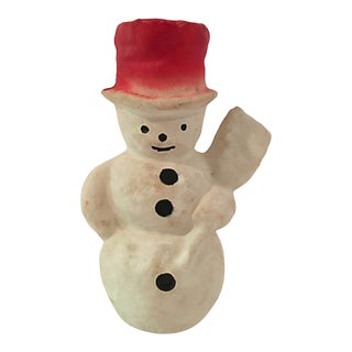 Papier Mache Snowman W Red Top Hat For Sale