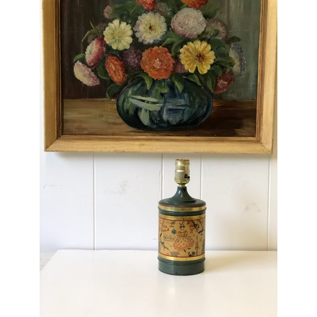 Art Deco Child's Lamp of Tole With a Toy Themed Paper Applique For Sale In Atlanta - Image 6 of 12