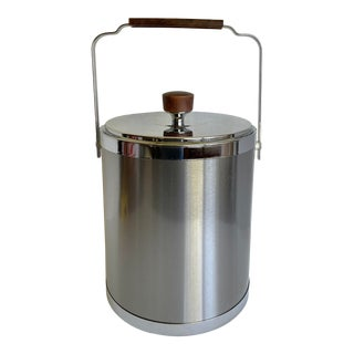 Mid-Century Modern Kromex Chrome and Walnut Ice Bucket For Sale