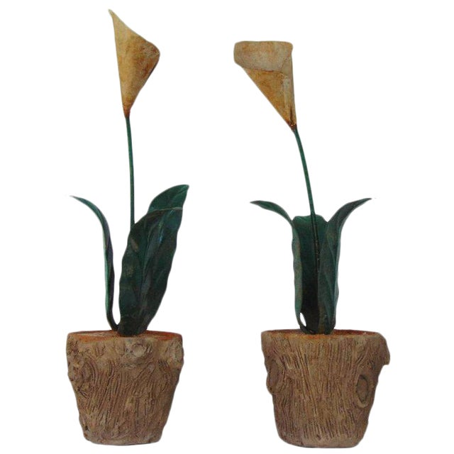 Tole Peinte Calla Lilies in Concrete Faux Bois Jardinieres - A Pair For Sale