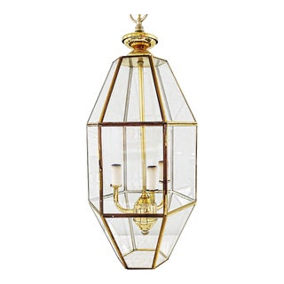 Vintage Brass and Glass Hexagonal Lantern Chandelier For Sale