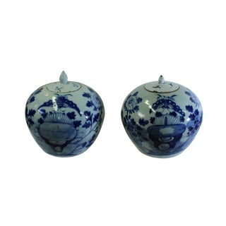 Pair Vintage Chinese Light Celadon White Porcelain Blue Graphic Jars For Sale