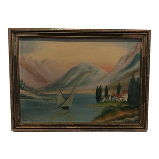 Nautical Landscape Oil Painting With Original Frame For Sale