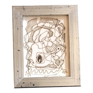 Original Vintage Wayne Cunningham Small Abstract Ink Drawing Framed 1990's For Sale