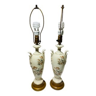 1960s Pink and White Country Scenes Urn Shape Table Lamps With Original Finials - a Pair For Sale