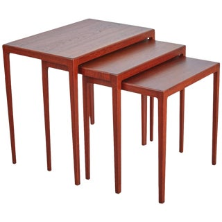 1960s Eske Kristensen Teak Nesting Tables by Ludwig Pontoppidan - Set of 3 For Sale
