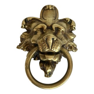 "Impressive Brass Lion Pull 4"" X 5"" For Sale"
