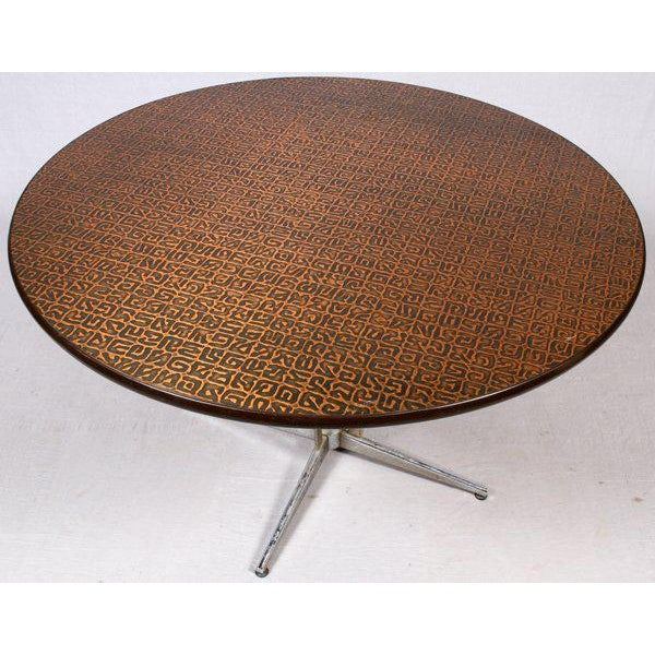 Hand-Hammered Copper Top Round Table, Circa 1950 - Image 2 of 3