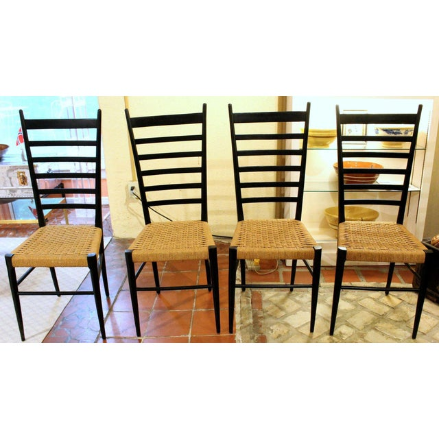 Italian Gio Ponti Style Ladder Back Chairs - Set of 4 For Sale - Image 3 of 7
