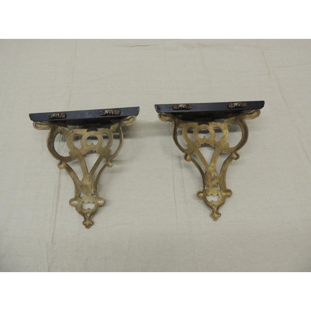Mid-Century Modern Vintage Indian Brass and Wood Plate Holding Brackets For Sale - Image 3 of 6