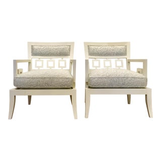 Currey and Co. Modern Phoebe Arm Chairs Pair For Sale