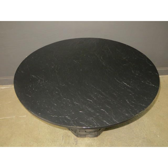 Black Mid Century Modern Faux Slate Dining Table With Leather Banding For Sale - Image 8 of 13