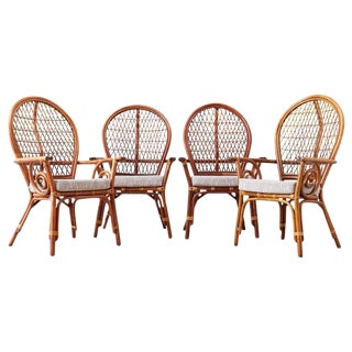 Set of Four Bamboo Rattan Peacock Dining Armchairs For Sale