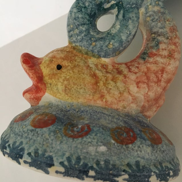 Late 20th Century Italian Hand Painted Ceramic Shell Bowl Perched Atop Dolphin Tail For Sale - Image 5 of 10