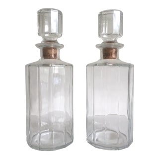 Vintage Mid-Century Modern Bormioli Faceted Glass Italian Decanter Bottles - a Pair For Sale