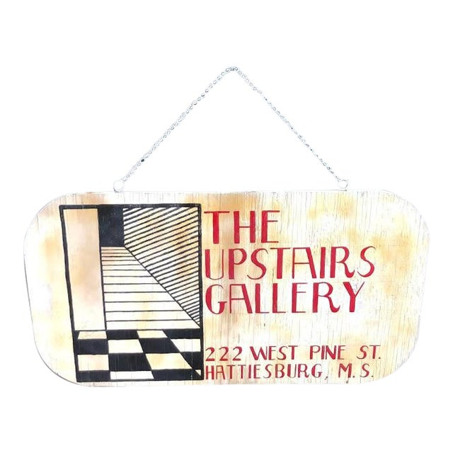 "1960s Wooden ""Upstairs Gallery"" Hanging Sign For Sale"