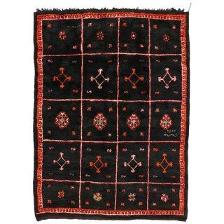 1980s Berber Moroccan Black Rug - 8′10″ × 11′11″ For Sale